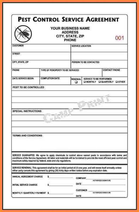 pest control service agreement template purchase