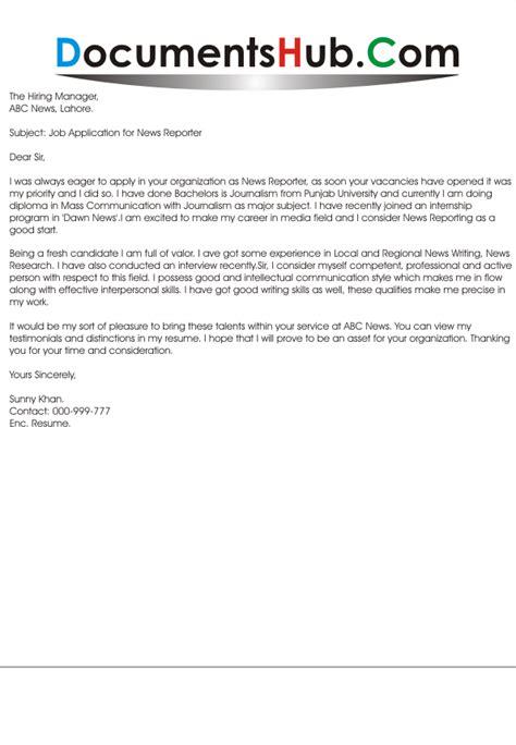 cover letter for news reporter documentshub