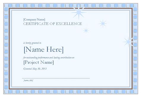 certificate  excellence template