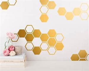 Gold Honeycomb Wall Decals Hexagon Vinyl Wall by