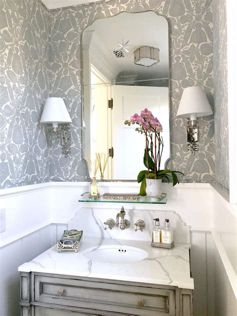 gorgeous  gray  white powder room tiny powder