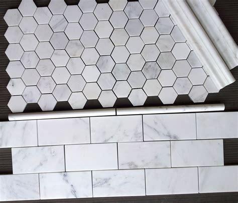 marble hex tile 7 00sf carrara venato 3x6 quot subway tile and venato 2 quot hexagon mosaic tile from thebuilderdepot