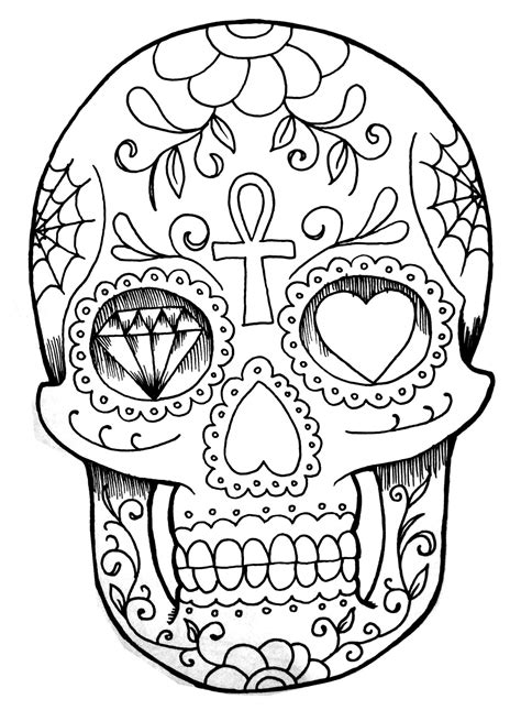 Tattoo of a skull with various drawings - Tattoos Adult Coloring Pages