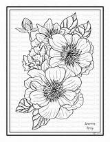 Peony Anemone Coloring Printable Instant sketch template