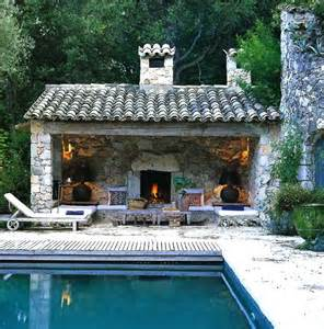 Pool House with Outdoor Fireplace