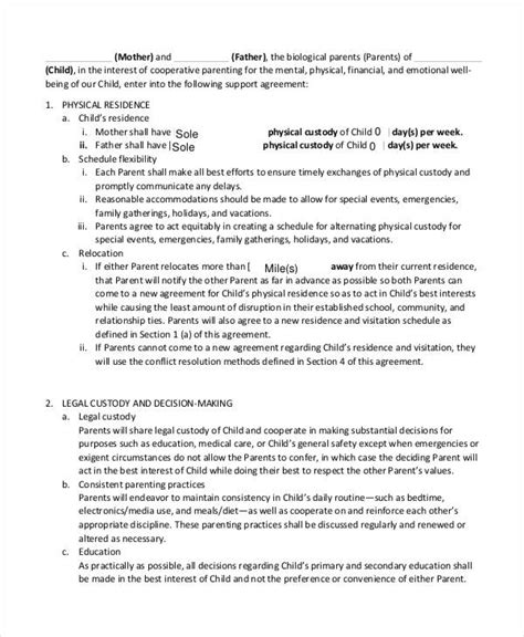 child support agreement template 10 child support agreement templates pdf doc free premium templates