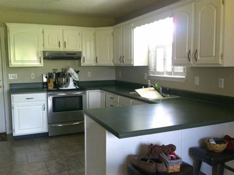 newlywed hares   paint  countertop green