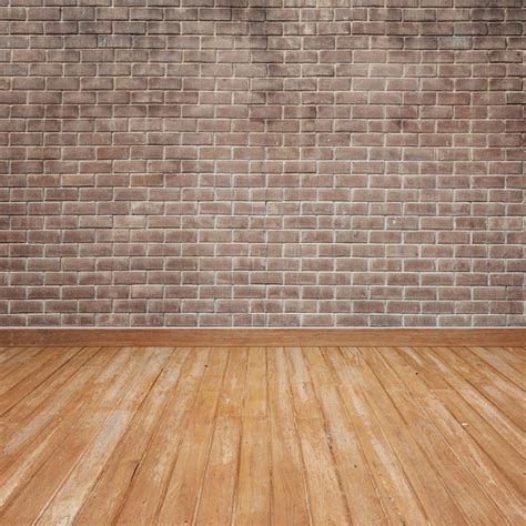 Wooden floor with brick wall Photo  Free Download