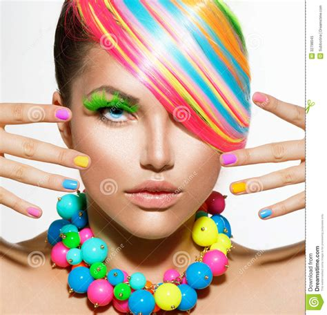 Girl Portrait With Colorful Makeup Stock Image Image