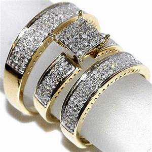 unique yellow gold diamond wedding ring set for his and With cheap diamond wedding ring sets for her