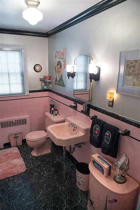 retro pink bathroom decor robert s pink and black bathroom makeover retro renovation