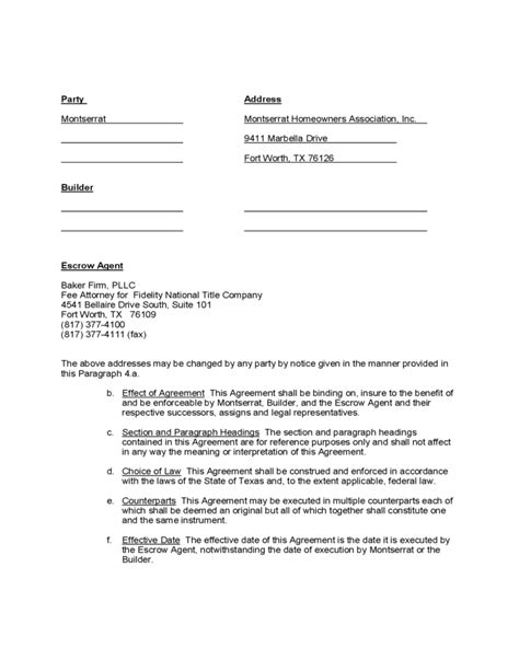 sle form for escrow agreement free