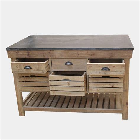 meuble central de cuisine ilot central bois massif avec plateau en bleue