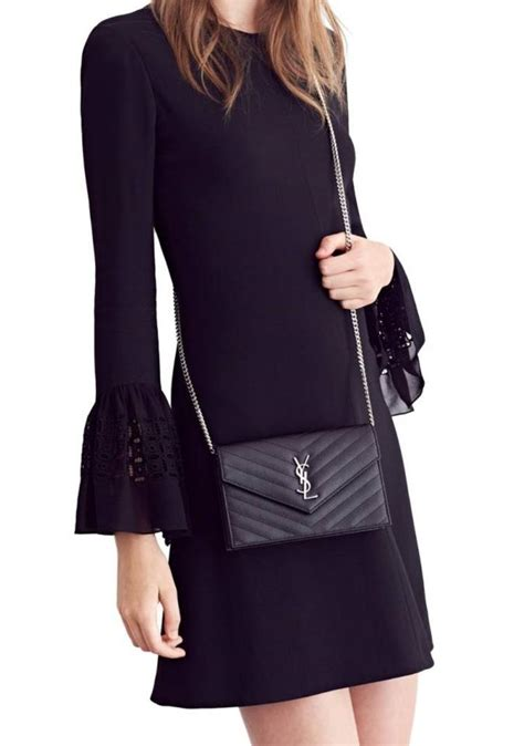 saint laurent chain wallet  ysl monogram matelasse small envelope black leather cross body