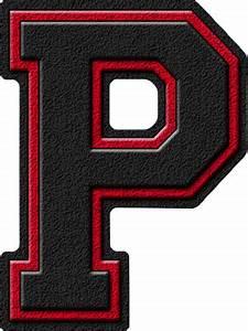 Presentation Alphabets: Black & Cardinal Red Varsity Letter P