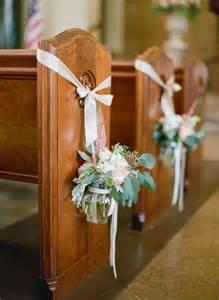 Church Pew Wedding Decorations Flowers
