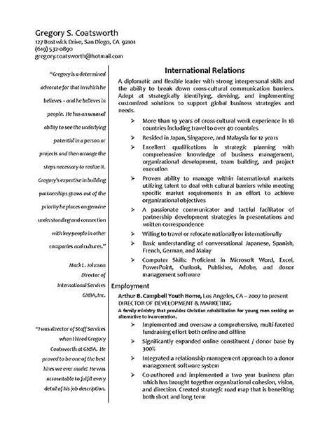 resume objective international relations international relations resume exle
