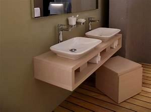 Plan Vasque Bois : photo meuble salle de bain fait maison ~ Teatrodelosmanantiales.com Idées de Décoration