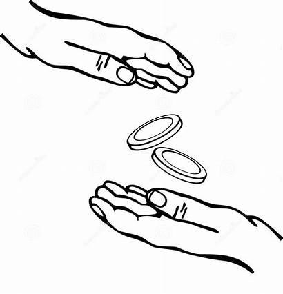 Giving Money Hands Clipart Receiving Vector Hand