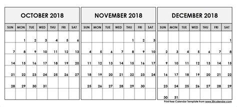 october november december  printable calendar