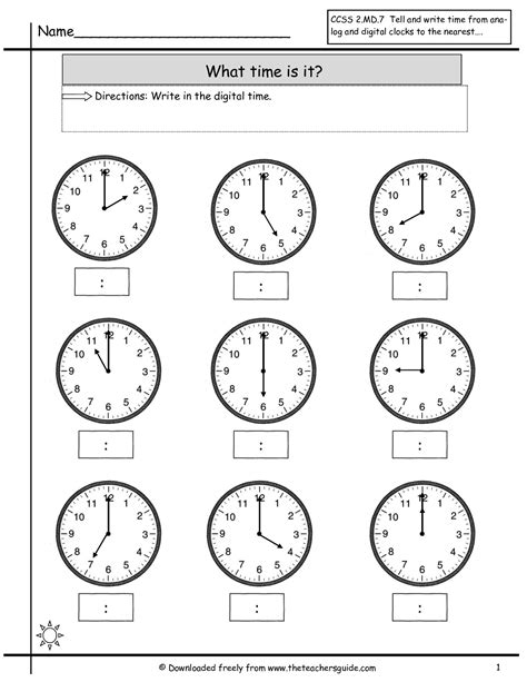 free printable telling time worksheets time