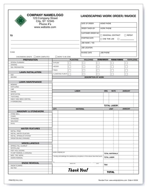 landscaping work orderinvoice version  windy city forms