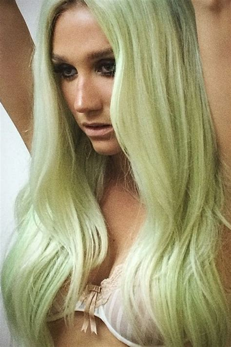 kesha straight green uneven color hairstyle steal  style