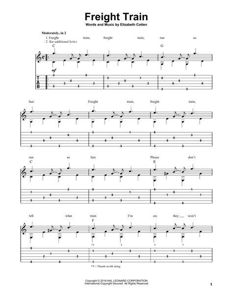 freight train sheet music elizabeth cotten guitar tab