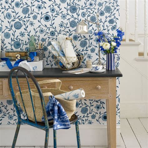 Blue Countrystyle Hallway  Hallway Wallpapers Floral