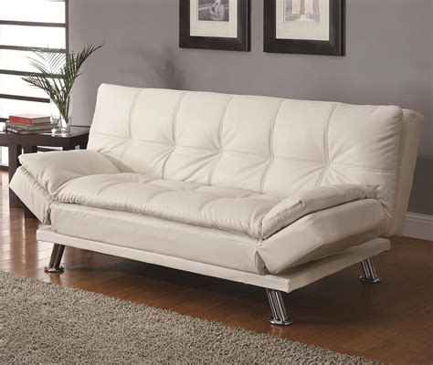 White Sofa Sleeper by Coaster Dilleston Contemporary Sleeper Sofa Bed In White