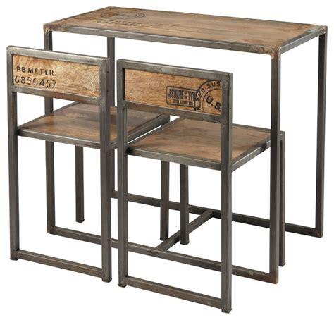 table et chaise de bar manufacture table haute de salle à manger 2 chaises en manguier et métal l 90