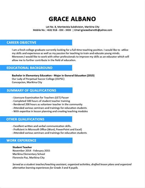 curriculum vitae sample  fresh graduate