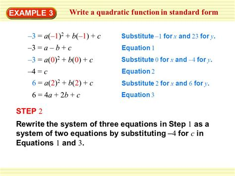 write the function in vertex form write a quadratic function in vertex form ppt video