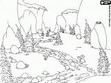 River Mountain Landscape Coloring Meadow Forest Drawing Flowing Landscapes Adult Adults Nature Printable Drawings Through Pencil Sky Getdrawings Flows Visit sketch template