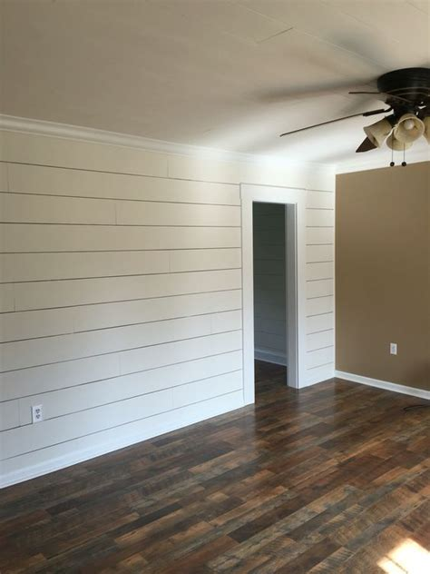 client remodel faux shiplap wall  larger  spacing
