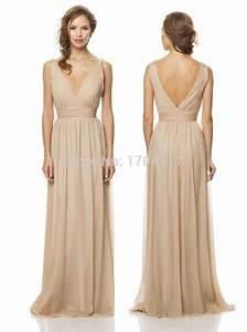 simple and perfect tan bridesmaid dress chiffon v neck With tan wedding dress
