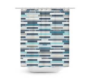 Rideau Bleu Turquoise by Mosaic Shower Curtain Geometric Shower Curtain Bath Curtain