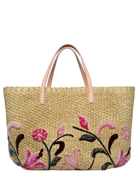 lyst ermanno scervino floral embroidered raffia tote bag