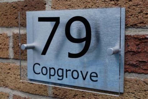 house number signplaque brushed aluminium acrylic