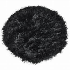 tapis shaggy floky rond noir achat vente tapis With tapis shaggy soldes