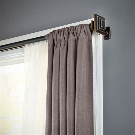 Diy Kitchen Curtain Ideas - kenney mission 66 in 120 in telescoping 1 in double curtain rod kit in oil rubbed bronze