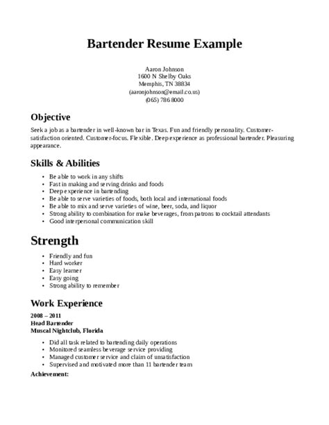Bartending Resume Sles With No Experience by Bartending Experience Professional Resume 28 Images Resume Template For Bartender No