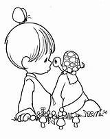 Coloring Pages Precious Moments Children Printable Colouring Boy Mother Turtle Pm19 Characters Adults sketch template