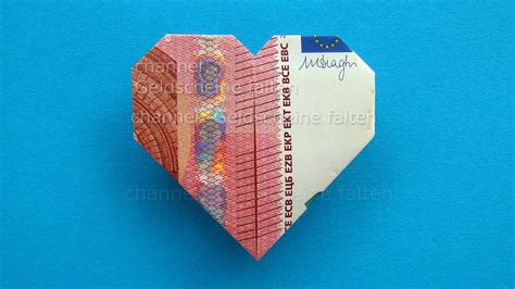 geldscheine falten herz leichte origami herz aus geld