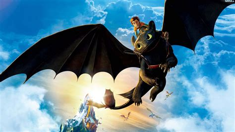 How to Train Your Dragon. Hiccup Riding Toothless UHD 4K