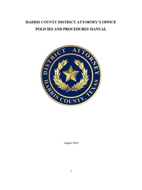 harris county district attorneys office operations manual