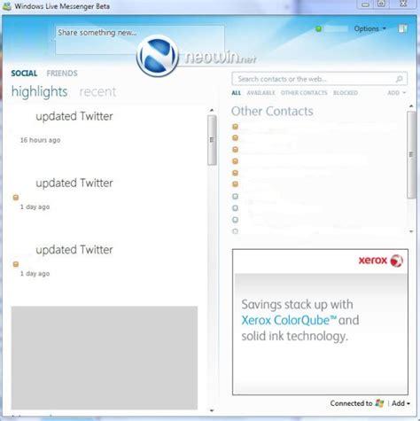 capturas de pantalla de windows live messenger 10
