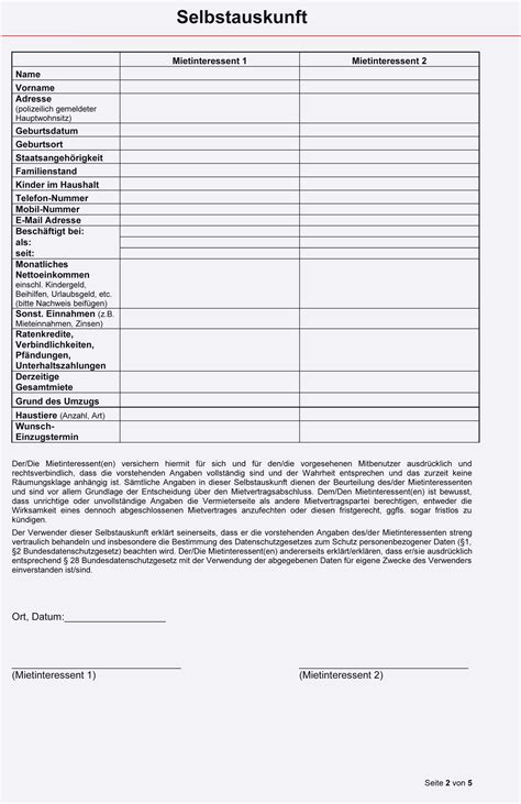Selbstauskunft Wohnung Formular by Selbstauskunft Vorlage Bank Muster Und Vorlage