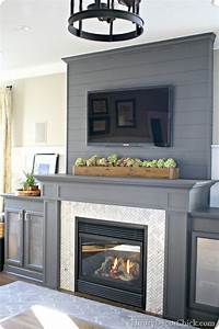 family room reveal from thrifty decor chick With what kind of paint to use on kitchen cabinets for wall art fireplace