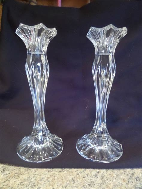 Glass Candle Stick Holders by Vintage Glass Candlestick Holders 9 Quot